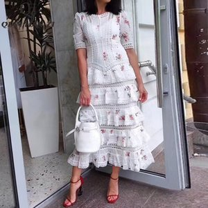 Qian Han Zi pista moda verão vestido maxi 2020 Mulheres manga curta alta qualidade de impressão Lace Cascading Ruffle elegante vestido longo