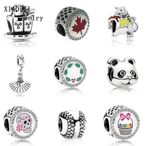 XIAOYI 100% 925 sterling silver baseball maple leaf panda rabbit marquis pearl day of death Christmas Easter basket charm T200507