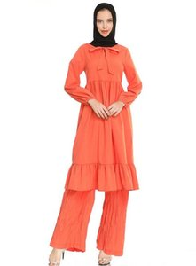 women's new fashion 2020 summer Muslim bow-tie collar long-sleeved pleated lotus leaf two-piece dress