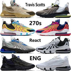 New Travis Scotts 27o Reagir mens ENG as sapatas das mulheres runnning indi formadores preto branco roxo claro cinza azul esportes tênis US 5,5-11