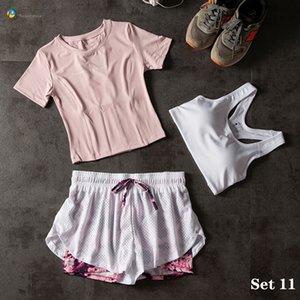 Para Praia Двухкусочного Йога Set Спортивная одежда для женщин трехкомпонентной Фитнес Одежда Женщины Спортивных шорт Gym Workout Crop Top