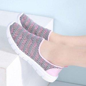 MCCKLE Нового лето женщины плоские туфли скользят по сеткам выдалбливают платформы дышащих Женских бездельники удобного свет даст