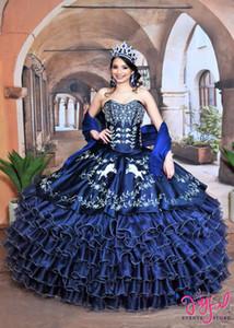 Bleu marine Charro Quinceanera robes avec Wrap broderie Jupe plissée vestidos de 15 años chérie douce 16 Robe