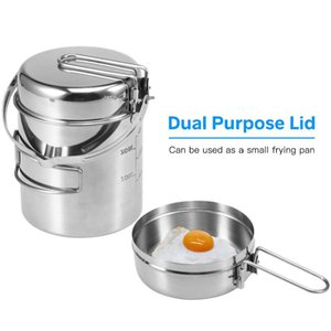 1L Cooking Pot Portable Outdoor Camping Stainless Steel Kettle Backpacking Pot With Foldable Handle For Hiking Picnic Travelling