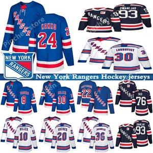 New York Rangers Jersey 10 Artemi Panarin 24 Kaapo Kakko 30 Henrik Lundqvist 36 Mats Zuccarello ZIBANEJAD maglie hockey Skjei Chris Kreider