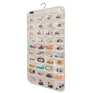 Dual Sides Hanging Jewelry Organizer,80 Pocket Organizer for Holding Jewelries(Beige Black Grey White)