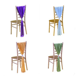 Soft Satin Sash per Wedding Chair Cover Sash Coprisedile Band con fibbia Chiavari Sedie Decorazione