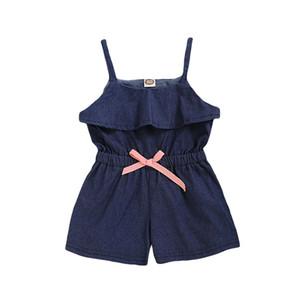 Çocuklar Kızlar Suspender Tulumlar Bebek Bebek Denim Jumosuit Çocuk Casual Giyim Kız Katı fırfır tulum Bebek Kız Kıyafetler 1-4T 06
