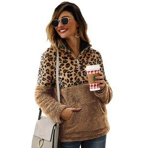 Giacca stampata Leopard Leopard Women Zipper Pullover Manicotto di risvolto Lana Designer Tops Womens Felpe Long Peluche Felpe con cappuccio spesso scollo GIQC