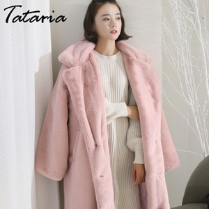 Tataria invierno capa de las mujeres de piel falsa elegante para la capa larga de las mujeres de piel suelta de la solapa de grueso abrigo caliente Mujer abrigos de felpa
