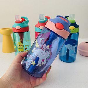 Nuovo 480ml portatile del fumetto Progettato bottiglia d'acqua per adulti bambini succo di infusione Bottiglia infusore Drink Outdoor Sports Straw bollitore FY4123