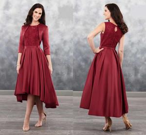 Темно-красных 2020 Привет Низких блесток кружево мать невесты платья с курткой атласных драпированными вечера Elegant официально платье партии Vestidos De
