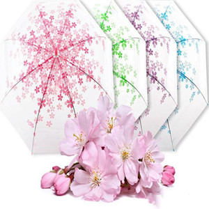 Lucency Paraguas lluvia de las mujeres de Sakura de mango largo Paraguas niñas claro transparente de la flor de cerezo Paraguas Hermoso regalo LXL1040-1
