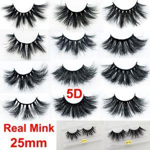 Maquillage 3D Vison Cils 25 mm réel Mink Faux-Cils de luxe doux naturel cils épais 5D dramatiques Extension Lashes Eye Lashes main