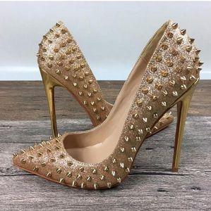 Золотая игла заклепки Красное дно высокий каблук женщины золотой блеск шипастый мелкий каблук насос острыми пальцами свадебное платье обувь 12-10-8см коробка+мешок для пыли