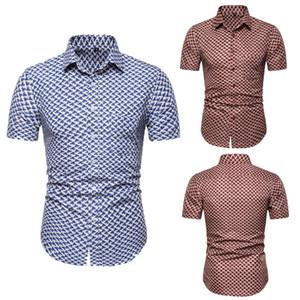 Floral para hombre Impreso de diseño delgado de la manera camisas respirables de la manga corta camisas para hombre de la playa de vacaciones de verano Tops