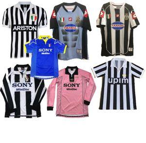 Rosa 1997 Juventus 02 03 ZIDANE RETRO Fútbol DEL PIERO 97 98 JERSEY Inzaghi Deschamps Camisetas de fútbol negro azul largo de la manga 95 96
