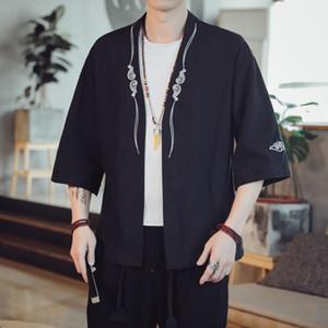 # 3919 Vintage Cotton Linen Jacket Men en vrac mince Noir Bleu Rouge Gris Kimono survêtement rétro hommes Kimono Cardigan manteau