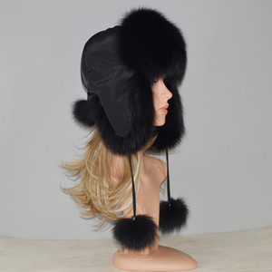 Novo Inverno Russa Natural Real Fox Fur Hat Mulheres Qualidade Verdadeira Pele De Raposa Bomber Hats Genuine Cap Pele De Raposa de Varejo Atacado