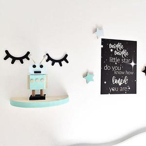 2019 Nouveau mur en bois Cils Stickers muraux Art bricolage Accueil Chambre Kidsroom Chambre Décor mignon de bande dessinée autocollant