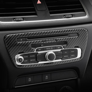 Kohlefaser konsole cd panel dekoration abdeckung trim klimaanlage steuerung rahmen aufkleber für audi q3 2013-2018