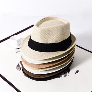 Mode Männer Panama Strohhüte Frau Fedora Krempe Sonnenschutz Hüte Classic Soft Unisex-Sommer-Strand Sun Caps TTA953