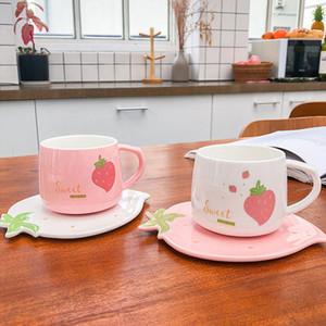 250ml Cartoon Cute strawberry Coffee Mugs Ceramic Creative Floral Juice Tea Cup with Tray Girlfriend Gift