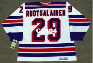 Mens # 29 Reijo Ruotsalainen New York Rangers 1984 CCM Vintage Retro Startseite Hockey Jersey oder benutzerdefinierten beliebigen Namen oder Nummer Retro Jersey