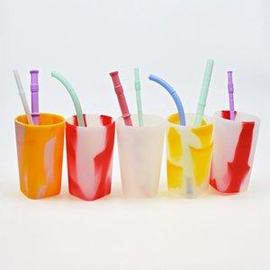 Óculos Vinho Silicone 400ML colorido do arco-íris Outdoor Sports portátil Garrafa Viagem Gradiente água canecas Copos OOA7527