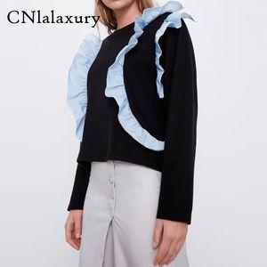 Black Hoodie Round Neck Long Sleeve Spliced Sweatshirts Women Loose Hoodies Female Casual clothes moletom feminino sudaderas
