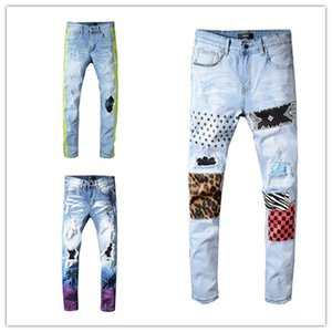 19SS Designer Mens Jeans Distressed Ripped Biker Jeans Slim Fit Motorcycle Biker Luxury Denim Jeans Nueva marca Fashion Designer Pants