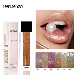 Handaiyan Glitter Ligloss Pigment Mat Velvet Uzun Ömürlü Olmayan Çubuk Kupa 6 Renk Seçeneği Makyaj Glitter Dudak Parlatıcı