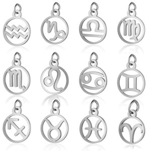 High Quality Stainless Steel Round Shape 12 Constellations Zodiac Diy Charms Fashion Making Accessroies Bracelet Necklace Pendant Jewelry