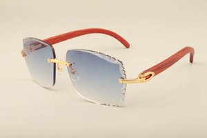 새로운 공장 직접 고급 패션 선글라스 3524014 개 천연 나무 골드 코드 선글라스 조각 렌즈, 개인 사용자는 새겨 져