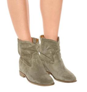 Zapatos perfecta raro clásico de la manera Isabel Crisi gamuza tobillo botas de cuero genuino Nueva Marant de calle de París al estilo occidental