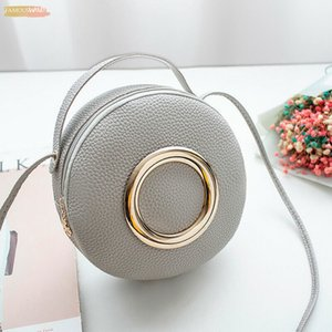 Fashion New Women Round Bag Solid Color Handbags Pu Zipper Leather Shoulder Bag Small Crossbody Bags Tote Ladies Messenger Bags