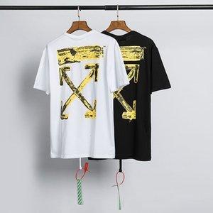 marca de moda de color blancuzco de impresión de chorro de tinta de oro flecha corta de algodón par de hip-hop camiseta de la manera YAQ7 de las mujeres y hombres de la manga