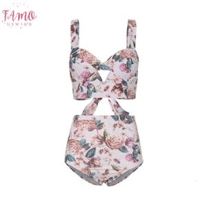 Ladies Gather Swimsuit Two Piece Bikini Sexy Swimsuit Floral Bow Tie Split Polyester Clothes Set For Women New Arrival