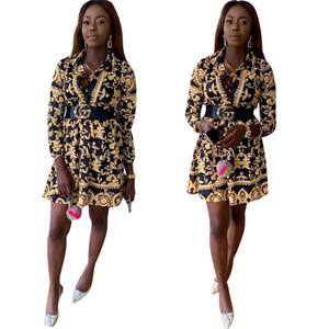 Luxus Womens Designer Kleider Fashion Golden Floral Printed Loose Shirt Kleider Womens Herbst Designer Langarm Kleider