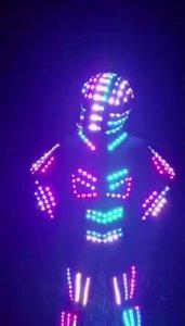 RGB Led Leucht Tron Roboter Dance Suit Programmierbare Led Leuchten Bühne Leistung Party-Event Kleidung Geführt Ballsaal Kostüm