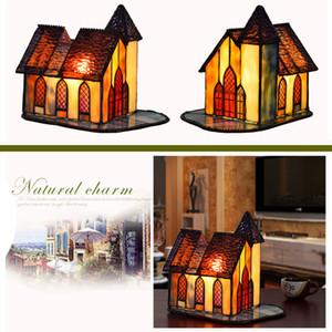 creativa lámpara de vidrio de la casa pequeña retro shiping libre del vitral de Tiffany lámpara de mesa de noche dormitorio arte barra de la noche se ilumina TF041