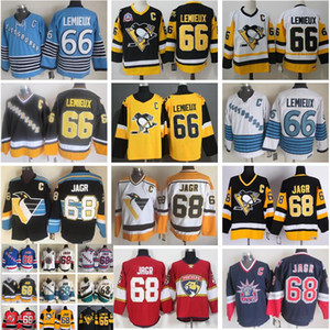 Hombres Pittsburgh Penguins 66 Mario Lemieux Jersey 68 Jaromir Jagr New York Rangers Florida Panthers Hockey CCM Vintage Negro Blanco cosido