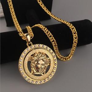 Hip Hop collar de moda de los hombres de joyería de lujo 24K Oro Plata larga cadena de diamante pieza collares del diseñador medusa Avatar colgante