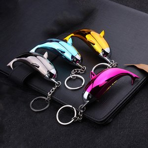 Trousseau de Nice Briquet Creative Portable Dolphin en forme de gaz Briquets mignon pour les femmes Cigarette Accessoires Collection Rechargeables