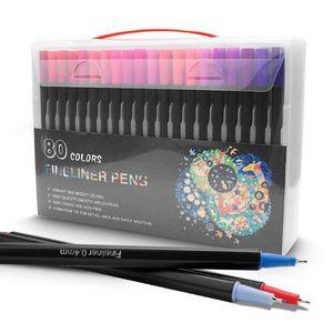 Couleur Fineliner Pen Set 80 couleurs Art Marqueurs Sketch Dessin Stylos Porous Fine Point Marqueurs de coloriage pour Art Pen Esquisser