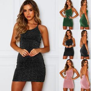 Vestito aderente estate delle donne sexy Backless mini pannello esterno solido di colore cinghie di schiena Magro abiti da sera del partito del randello dei vestiti del vestito S-3XL CZ527