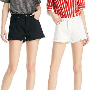2020 Verão Mulheres CasualHigh Waisted Lavados rasgado Buraco Mini botão de curto-calças pretas Branco Sexy