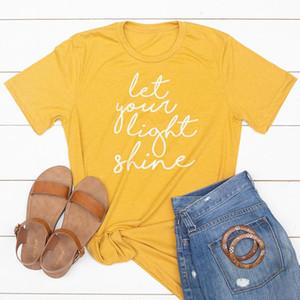 Let Your Light Shine Maglietta 90s Estetica Christian Tshirt Donna Tumblr manica corta Jesus Tee O Collo in cotone Top Drop Shipping