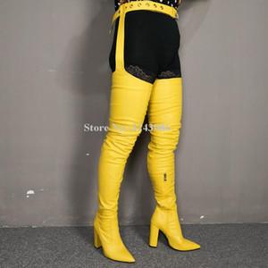 Kadınlar Sarı Renk Deri Chunky Topuk Bel Pantolon Uzun Çizme Moda Sivri Burun Kemeri Üzeri Diz Dizden sonra Cizme Lady