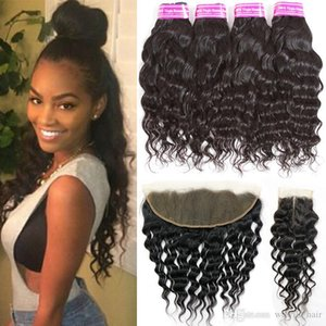 Brazilian Virgin Human Hair Bundle Water Wave 4 Bundles with Lace Closure Big Curly Hair Weave Bundles with Closures Frontal Closure Natural